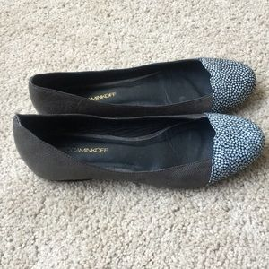 Rebecca Minkoff 8.5 leather slip on flat shoes.